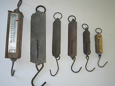 Lot of 6 Antique/Vintage Hand Held Spring Scales.Triner,Chatillons,PS&WCO,