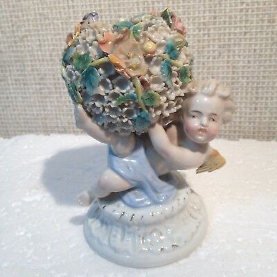 """Rare 18th Century Derby Figurine """"Roses with Angel""""  1860-1865"""