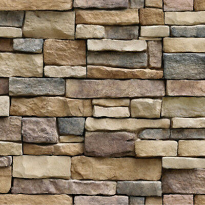 3D Wall Brick Stone Rustic Effect Self-adhesive Stickers House Decor DIY ART Way