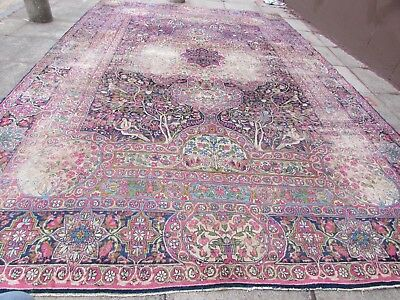 Antique Hand Made Traditional Persian Oriental Wool Blue Large Carpet 433x292cm