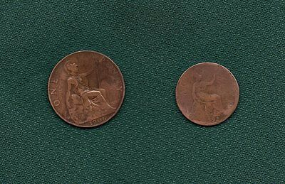 Great Britain Half Penny 1892 Queen Victoria and One Penny 1906 King Edward VII