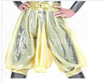2018 Latex Rubber Gummi Knee-length Pant Short with Urine Gag Male Size XXL