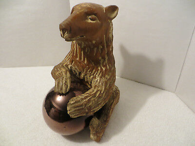 Vintage SARREID HAND-CARVED BROWN BEAR WITH GLASS BALL Mid-Century Modern Design
