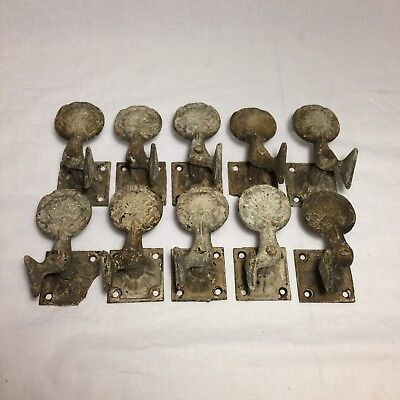 Lot Of 10 Vintage Shutter Dogs Shell Shape Cast Iron Hooks Salvage
