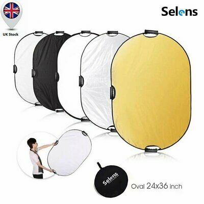 "Selens 24""x35"" PRO 5-in-1 Photo Studio Light Multi Collapsible Oval Reflector UK"