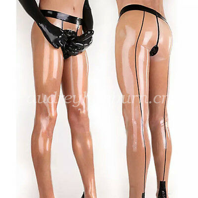 Pure Natural Latex Rubber Men Sexy Pants With Sheath Trousers Size XXS-XXL