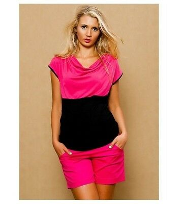 Pink Cotton Maternity Shorts  Stretchy Belly Belt With Pockets Summer