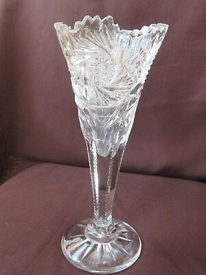 "Rare Antique Brilliant Cut Crystal Vase Footed-Flared-Pin Wheels 8"" Tall Fine"