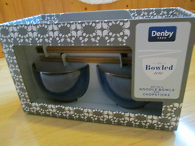 NEW 2 DENBY IMPERIAL BLUE NOODLE BOWLS & CHOPSTICKS in box