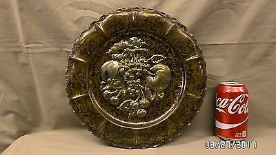 """1913M Vtg ITALY Marble Finished Brass 12"""" Plate Fruit Motif Wall Hung EXC COND !"""
