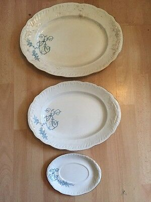 Booths Royal Semi Porcelain Tunstall T G & F Booth England 3 Serving Plates