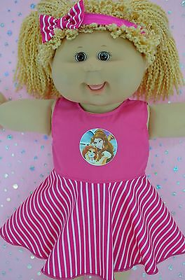 """Play n Wear Doll Clothes To Fit 16"""" Cabbage Patch STRIPE CIRCLE DRESS~HEADBAND"""
