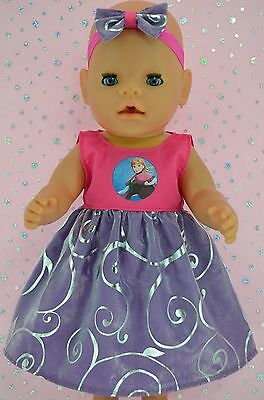 "Play n Wear Doll Clothes To Fit 17"" Baby Born FLORAL ORGANZA DRESS~HEADBAND"