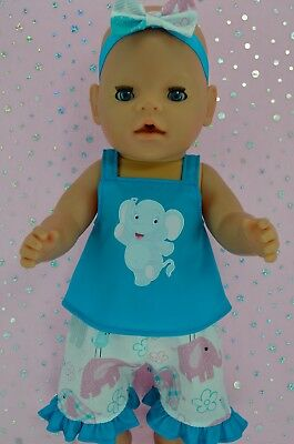 "Play n Wear Doll Clothes To Fit 17"" Baby Born 3/4 PATTERN PANTS~TOP~HEADBAND"