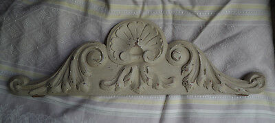 Antique French solid wooden pediment or fronton, pale grey paint with patina