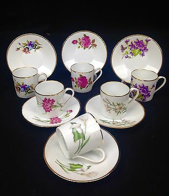 Vintage Limoges Coffee Can Set / Mug / Cup And Saucer Set Of 6 Floral / French