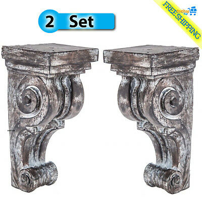 large rustic corbels - brackets set of 2 distressed scroll corbels New
