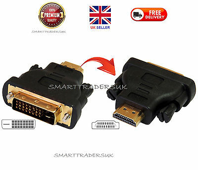 HDMI Male To DVI-D (24+1) Male Converter Adapter HDTV Video Display Connector UK