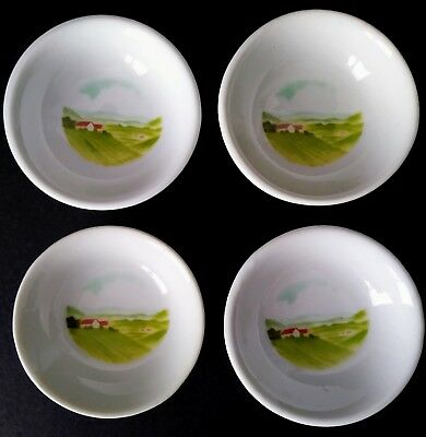 4 St.Dalfour Butter Pats Ceramic Mini Round Plates Country Design Vintage France
