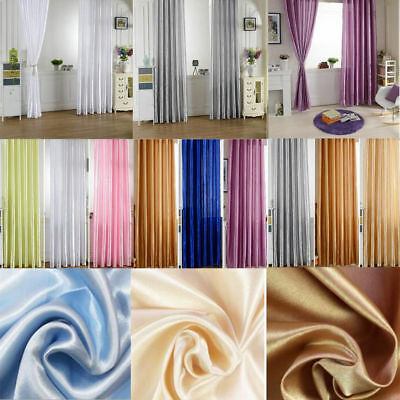 1Pc 100*200cm Satin Silk Door Window Curtain Voile Drape Sheer Scarf Valances SH