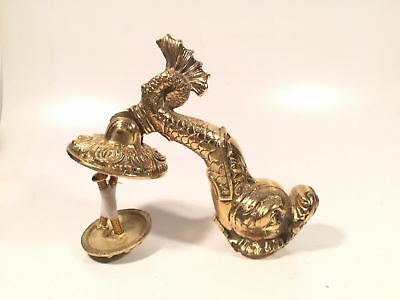 Solid Brass Antique Door Knocker Gold Toned Fish Vintage Strike Plate Heavy Made
