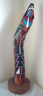 Huge Kachina Shalako Navajo Long Hair Carving signed Sculpture by J. Guy