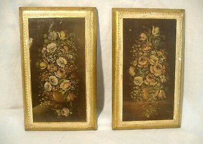 Pair Florentine Gilt Tole Plaques Italian Vintage Floral Flowers Prints on Wood