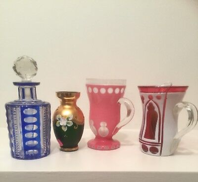 Group of lot 4  ,Antique  cut to clear perfume bottle glass and ...