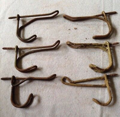 Lot of 6 ANTIQUE VINTAGE PRIMITIVE RUSTY BENT WIRE FARM SCHOOL COAT HAT HOOK #8