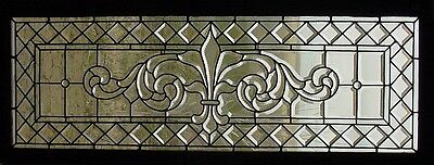 Antique American Beveled Glass Window with Zipper Cut Decoration