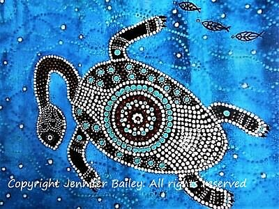 """Authentic Aboriginal Oil On Canvas Print """"long Neck Turtle"""" Limited Edition"""