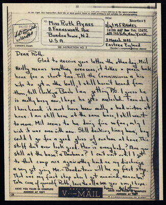 1945 US V-Mail 1412 AAF Base Unit, EDATC (London), APO 741 to Bordentown, NJ