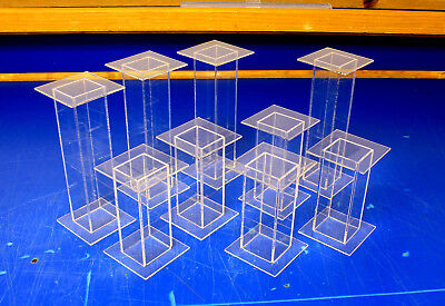 9 Lot Clear Acrylic Pedestal Display Risers Mixed Sizes 2.5x2.5x4 to 2.5x2.5x6.5
