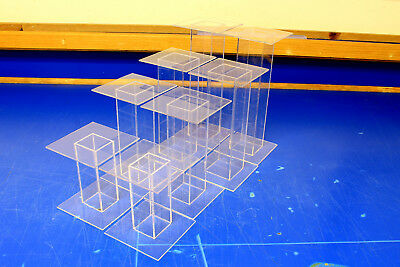 8 Lot Clear Acrylic Pedestal Display Risers Mixed Sizes 4x4x9 to 4x4x4