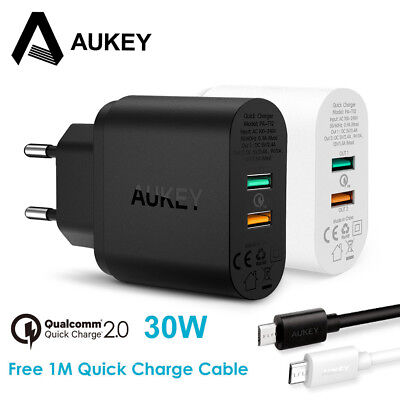 AUKEY 30W Mobile Phone Charger QC 2.0 Quick Charge Dual Ports USB Wall Charger