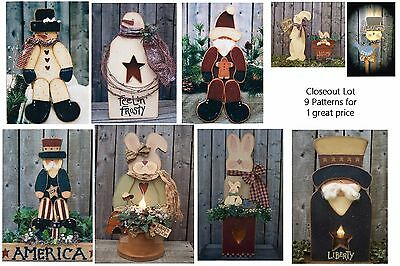 LG LOT OF 9 Christmas, Easter, Uncle Sam,  Wood Patterns Closeout Sale LOT #19