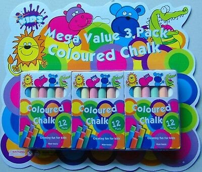 36 x ASSORTED COLOURS WASHABLE COLOURED CHALK CHALKS MEGA VALUE KID CRAFT