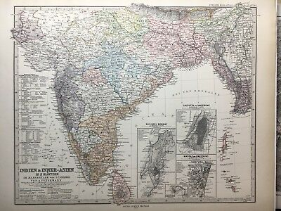 Lg. Antique PERTHES 1875 Map of India, Assan, Burma, Ceylon, Nepal, Bhutan