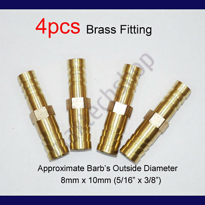 4PCS 5/16 to 3/8 |8mm x 10mm Brass Union Hose Barb Fitting Fuel Reducer Joiner