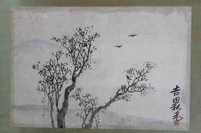 Dry Landscape Japanese Hand Painting 吉田秋光 (1887-1946) Antique Japan Old Ink Art
