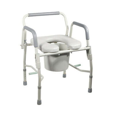 Drive 11125PSKD-1 Steel Drop Arm Bedside Commode with Padded Seat and Arms