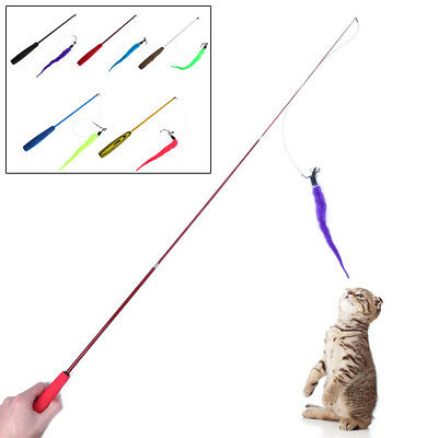 Pet Cat Toy Retractable Wand with Caterpillar Interactive Training Teaser Funny