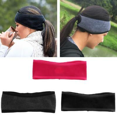 Womens Sport Sweatband Fleece Ponytail Headband Ear Warmer Running Gym Yoga