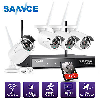 SANNCE Wireless 4CH 1080P NVR 4x 720P In/ Outdoor Security Camera System NO/ 1TB
