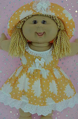 "Play n Wear Doll Clothes To Fit 16"" Cabbage Patch ORANGE/WHITE FLOWER DRESS~HAT"