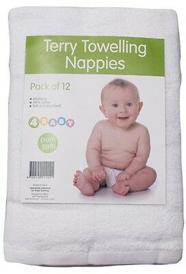 4Baby Terry Towelling Cloth Nappies 12pk Super soft and absorbent