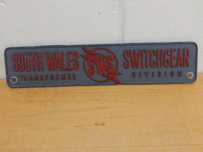 South Wales Switchgear Sws Transformer Division Industrial Cast Metal Sign