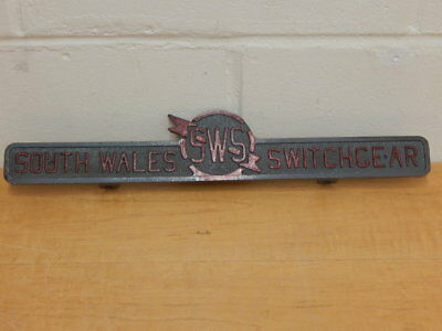 Large Original Industrial Cast Metal Sign South Wales Switchgear Sws