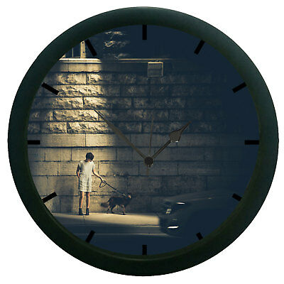 Man With Dog 3D Wall Clock Plastic Granules Home Décor 12 Hour Display Watch