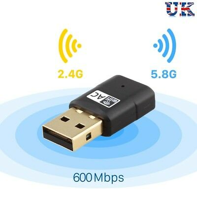600Mbps Dual Band 802.11ac 2.4GHz 5GHz PC WiFi USB Adapter Network LAN Dongle UK